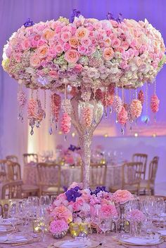 This gives me fairytale wedding. Flower arrangement with Swarovski crystals by Wedding Planner Preston Bailey Preston Bailey, Floral Centerpieces, Wedding Centerpieces, Wedding Table, Floral Arrangements, Wedding Decorations, Flower Arrangement, Centrepieces, Luxury Wedding