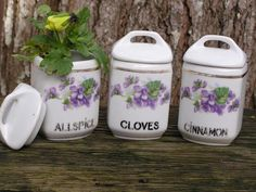 Antique Set of 3 Violet Coated spice Jars for window sill vases...Czechoslovakia