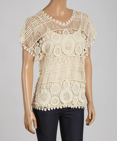Look what I found on #zulily! Natural Sheer Crochet Scoop Neck Top by Simply Irresistible #zulilyfinds