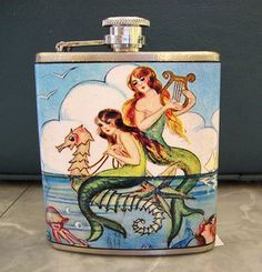 1950's retro vintage mermaid flask ..remember they drink like fish