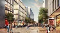 Foster + Partners Reveals Cardiff Central Square Masterplan,Wood Street. Image Courtesy of Cardiff City Council