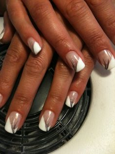 White tips with silver streaks