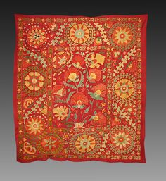 67.  Sold!  gorgeous coral, green, gold and blue silk on burgundy red cotton foundation. The most amazing piece.
