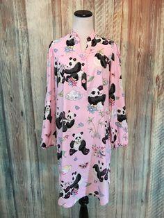 Nick & Nora Pink Panda Sleep Shirt Nightgown Cotton Long Sleeve Pockets sz M EUC #NickNora #Sleepshirt