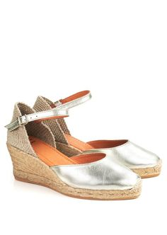 58b1528c03fa Toni Pons Costa platinum leather wedge espadrilles with ankle strap and  jute rope platform base and