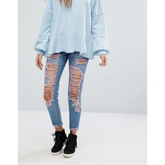 Missguided Riot Super Ripped Pink Jeans (€49) ❤ liked on Polyvore featuring jeans, blue, high waisted destroyed jeans, high waisted ripped jeans, pink jeans, blue jeans and ripped jeans