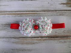 Christmas Headband - Red and Green Polka Dotted Rosettes on a Red Elastic Band - Baby Headband - Toddler Headband - Newborn Photography Prop on Etsy, $5.50