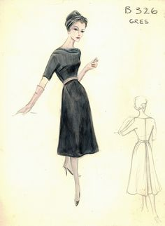 I need to get in shape to pull this off. Vintage Fashion Sketches, Fashion Illustration Sketches, Bergdorf Goodman, Vintage Dresses, Vintage Outfits, Fashion Silhouette, Dress Drawing, Vintage Couture, 1960s Fashion