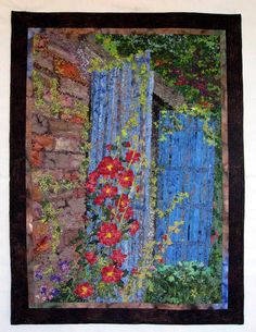 Art Quilt - Hollyhock Cottage - Wall Hanging. $1,750.00, via Etsy.