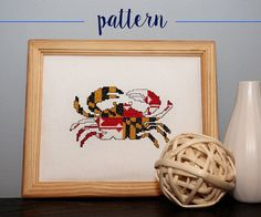 Cross Stitch PATTERN PDF -- Instant Download -- Maryland State Flag Crab