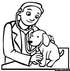 Free Occupations Coloring Pages. Color in this picture of a Veterinarian and others with our library of online coloring pages. Save them, send them; they're great for all ages. People Coloring Pages, Colouring Pages, Coloring Books, Coloring Pictures For Kids, Coloring Sheets For Kids, Veterinarian School, Free Online Coloring, Community Helpers Preschool, Preschool Coloring Pages