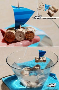cork = raft, paper = sail, toothpick = mast one sail = one character!: happy birthday, or whatever else ; Beach Crafts, Summer Crafts, Summer Fun, Projects For Kids, Diy For Kids, Crafts For Kids, Cork Crafts, Diy And Crafts, Beach Centerpieces