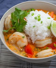 Thai Shrimp Soup with Coconut, Lemongrass Red Curry- So yum! Reminded me of a yellow curry but as a soup. Good thing Christina told me to use less red curry paste because with half it was just hot enough for me (mild). Seafood Recipes, Soup Recipes, Cooking Recipes, Recipies, Thai Cooking, Thai Shrimp Soup, Shrimp Curry, Thai Soup, Spicy Shrimp