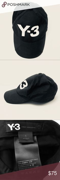 Auth Y3 Yohji Yamamoto black baseball logo hat cap Cool black hat fits S/M. 100% cotton. Never used, super clean. Y-3 Accessories Hats