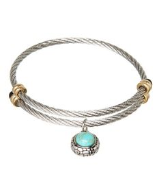 Look at this #zulilyfind! White Gold & Turquoise Charm Cable Bracelet #zulilyfinds