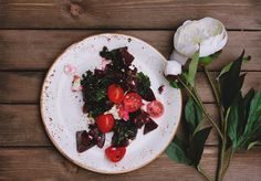 Beetroot, Kale and Goats Cheese Salad with black sesame seeds and olive oil dressing