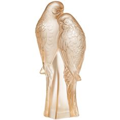Lalique Two Parakeets Figure - Gold Luster ($607) ❤ liked on Polyvore featuring home, home decor, clear, parrot figurine, lalique, lalique figurines, handmade home decor and gold home accessories