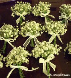 Shoestring Elegance: Decorating for a Very Special Event! (Part 1 of 2)  Beautiful little Baby's Breath place card mini-bouquets