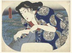 Kleding wassende vrouw, Utagawa Kuniyoshi, c. 1843