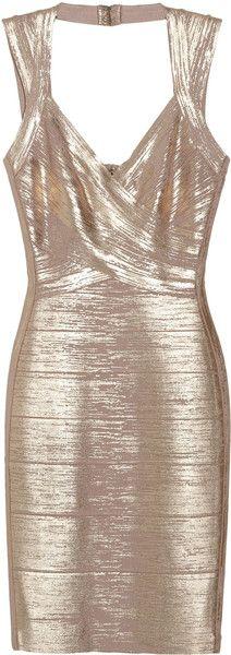 Hervè Lèger Paris   Metallic Coated Bandage Dress