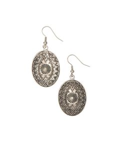 Love this Pavcus Designs Silvertone Geometric Oval Drop Earrings by Pavcus Designs on #zulily! #zulilyfinds