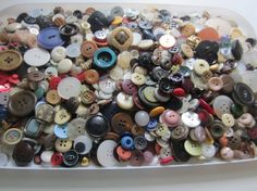 Vintage Buttons   Large lot Bargain buttons by pillowtalkswf, $12.98