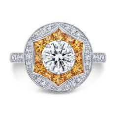 Vintage Inspired Yellow Sapphire Halo Engagement Ring