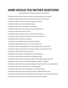 Ask these 79 hard would you rather questions to quickly + humorously start a great conversation. Each is handpicked, hilarious, and hard to answer. Questions To Get To Know Someone, Deep Questions To Ask, Would You Rather Questions, Funny Questions, Getting To Know Someone, Couple Questions, This Or That Questions, Interesting Questions To Ask, Truths Questions