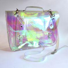 Holographic vinyl clear plastic satchel.