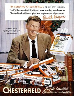 Only here... a 1951 Chesterfield ad featuring Ronald Reagan actor, selling cigarettes, back before he became the President of the United States!