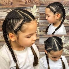 Briana has a swim class today so we did tight braids to keep her hair out of the face. Four strand round braids and an accent Dutch Lace braids. Have a fantastic day Mixed Girl Hairstyles, Cool Braid Hairstyles, Braided Hairstyles Tutorials, School Hairstyles, Updo Hairstyle, Prom Hairstyles, Little Girl Braids, Braids For Kids, Sweethearts Hair Design