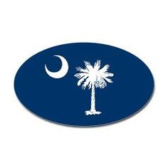 South Carolina Palmetto Moon EURO Oval Sticker, on South Carolina Signature Indigo Blue - Nothing's Finer than anything in Carolina! This is a staple gift for any Columbia, Charleston, Folly Beach, Isle of Palms, Hilton Head Island...