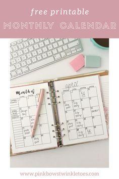 Monthly Calendar: Free Printable Planner Insert - All About A5 Planner Printables Free, Free Printable Calendar, Free Planner, Calendar Ideas, Calendar 2020, Calendar Design, Printable Stickers, To Do Planner, Mini Happy Planner