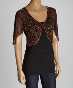 Another great find on #zulily! Coffee Floral Beaded Silk-Blend Shrug by Pretty Angel #zulilyfinds