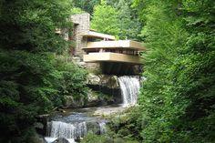 A house named Fallingwater was designed by Frank Lloyd Wright near Pittsburg, Pennsylvania.