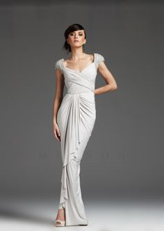 Ivory Side Swept Cap Sleeve Prom Dress - Unique Vintage - Cocktail, Pinup, Holiday & Prom Dresses.