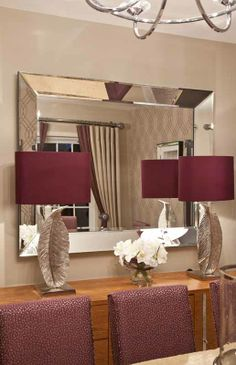 Instyle decor wall mirrors luxury designer wall mirrors modern stunning beveled mirror with aubergine table lamps mozeypictures