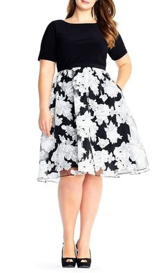 e10b076547f Adrianna Papell Plus Size Savannah Organza Floral Printed Fit and Flare  Dress