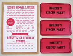 Circus invitations for my son's first birthday by ishandchi, via Flickr