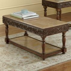 Artistic Wooden Square Coffee Table with fine hand carved legs