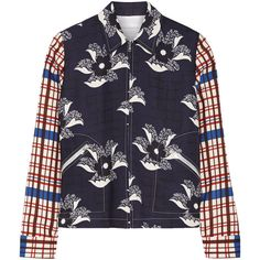 Victoria Beckham Printed crepe bomber jacket (€2.165) ❤ liked on Polyvore featuring outerwear, jackets, blue, bomber style jacket, flight jacket, crepe jacket, blue jackets and colorful jackets