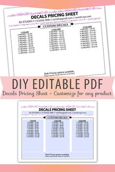 Fillable/Editable Text only PDF Pricing Sheet Letter Size Forms Blank Custom - Vinyl Decal, Clothing Custom Decals, Vinyl Decals, Wall Stickers, Wall Decals, Wall Art, Finance, Business Planner, Price Chart, Vinyl Shirts