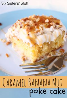 Caramel Banana Nut Poke Cake from SixSistersStuff.com.  A combination of my husband's favorite poke cake and banana cream pie.  Pure heaven! #dessert #cake #pokecake