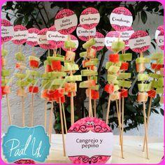 Paal Uh, Mesas de Postres & Snack's. Celebraciones con detalles que hacen especiales momentos.                               Bocadillos / Baby Shower Búho / Fucsia y Chocolate / Brochetas de cangrejo y pepino / wedding / Candy Bar / Table / party /