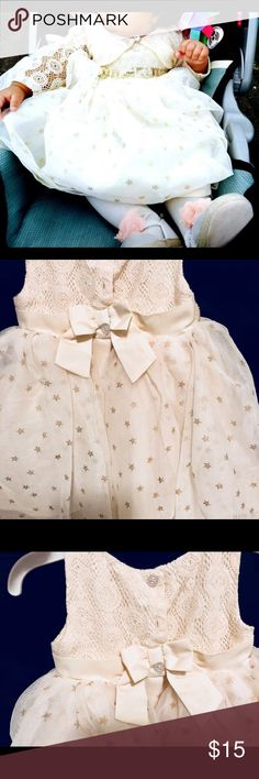 White flower girl dress Beautiful flower girl dress with gold sequins and gold star all over the dress..perfect for first birthday 🎂 Blueberi boulevard Dresses Formal