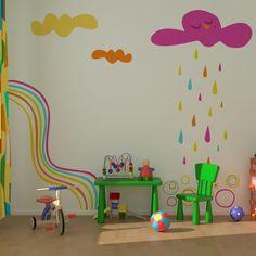 Nubes y arcoiris multicolor. Un vinilo precioso diseñado por Alla Kinda para www.stickway.com