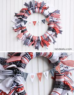4th of July Ribbon Wreath with cute and free printable mini bunting! DIY tutorial