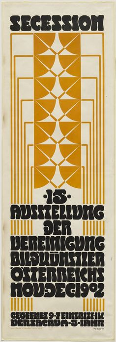 Adolf Boehm (1861-1927, Austrian), 1902, Poster for the Fifteenth Secession Exhibition, Lithograph, 94 x 31.9 cm. #Secession