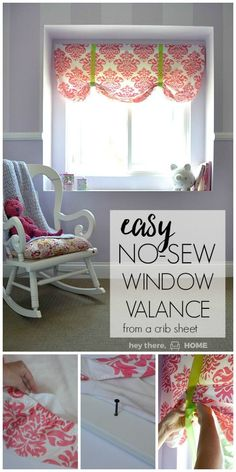 The easiest no-sew window valence ever! This was the perfect addition to a feminine little girl's room.(Diy Curtains No Sew) No Sew Valance, No Sew Curtains, Valances, Valence Curtains, Burlap Curtains, Bedroom Curtains, Valance Window Treatments, Window Coverings, Decorating Your Home