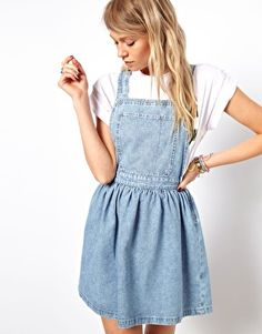 ASOS Cross Back Denim Pinafore Dress in Light Vintage Wash